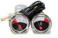 "Temperature & Fuel Gauge  John Deere 1010 Row Crop Utility Gauge Set Consist the following 3 Meters Temperature Gauge = 2"" Dashboard with mounting studs"