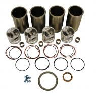 Engine Base kit for Powertech 4045D engine. Includes standard piston kits (RE65966), complete gasket set with front and rear crank seals, connecting rod bushings and Valve stem seals. To maximize kit you would add 4 conrod bearing pairs, 4 Main Bearing pairs, 1 Main Thrust bearing set, 6 Balance Shaft bushings, 1 Camshaft bushing 8 Capscrews also called Conrod bolts and an injector grommet kit. (Sold separately). If ordering rod or main bearings please indicate sizes required. Part Reference Numbers: RE59279;RE66092 Fits Models: 210LE INDUST/CONST; 310E INDUST/CONST; 450H INDUST/CONST; 485E LIFT TRUCK; 486E LIFT TRUCK; 488E LIFT TRUCK; 5410; 5415; 5420N; 550H CRAWLER; 5510; 5615; 5715; 6010; 6110; 650H CRAWLER; 6610 FORAGE HARVESTER; 6610 INDUST/CONST