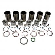 Engine Base kit for Powertech 6068T engine. Includes standard piston kits (RE507920), complete gasket set with front and rear crank seals, connecting rod bushings and Valve Stem seals. To maximize kit you would add 6 conrod bearing pairs, 6 Main Bearing pairs, 1 Main Thrust bearing set, 1 Camshaft bushing, 12 Capscrews also called Conrod bolts and an injector grommet kit. (Sold separately). If ordering rod or main bearings please indicate sizes required. Part Reference Numbers: RE66096;RE507920 Fits Models: 6603; 670C MOTOR GRADER; 670CH MOTOR GRADER; 672CH MOTOR GRADER; 700H CRAWLER; 700J CRAWLER; 7455; 7460; 9935 COTTON PICKER
