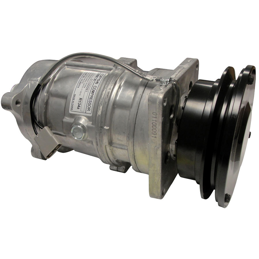 John Deere AC Compressor New S6 Design Will Replace Original A6 Design And Is Completely R134A Compatible. Uses Aluminum Case To Save Weight And Dissipate Heat More Quickly. Note