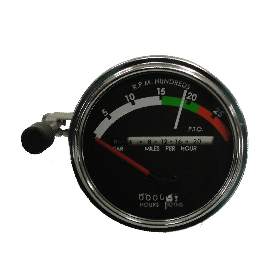 John Deere Tachometer Tachometer Assembly With RED Needle. Tractors: Gas/Diesel With Powershift Transmission:4020 (to S/n 250000)Red Needle Used Through 1968. No Provision For Fiber Optc Light.