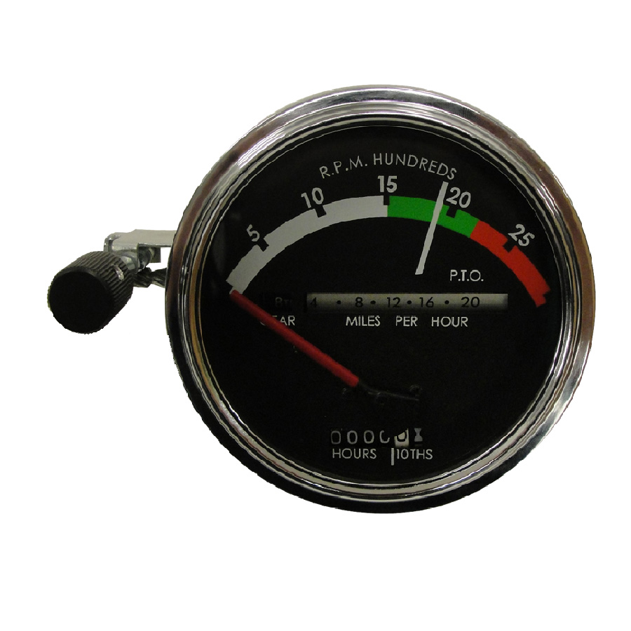 John Deere Tachometer Tachometer Assembly With RED Needle. Tractors: Gas/Diesel With Syncro Range Transmission. Red Needle Used Through 1968. No Provision For Fiber Optc Light.