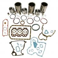 """Engine Base kit for 3.164 engine serial # 179,601 and above (O-rings on Block with small 1.185"""" (30mm) piston pin). Includes standard piston kits (AR71593), complete gasket set with front and rear crank seals and connecting rod bushings. To maximize kit you would add 3 Conrod bearing pairs, 3 Main Bearing pairs, 1 Main Thrust bearing set, 6 Capscrews also called Conrod bolts and an injector grommet set. (Sold separately). If ordering rod or main bearings please indicate sizes required. Part Reference Numbers: AR71593 Fits Models: 1420 MOWER; 1520; 1530; 350B CRAWLER"""