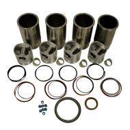 """Engine Base kit for Powertech 4045T engine (Piston Pin 1.62"""" (41mm) ). Includes standard piston kits (RE507850), complete gasket set with front and rear crank seals, connecting rod bushings and Valve Stem seals. To maximize kit you would add 4 conrod bearing pairs, 4 Main Bearing pairs, 1 Main Thrust bearing set, 6 Balance Shaft bushings, 1 Camshaft bushing 8 Capscrews also called Conrod bolts and an injector grommet kit. (Sold separately). If ordering rod or main bearings please indicate sizes required. Part Reference Numbers: RE507850;RE66094 Fits Models: 120 EXCAVATOR; 444HCL INDUST/CONST; 444HLL INDUST/CONST; 550G CRAWLER; 550H CRAWLER; 555G CRAWLER; 6010; 6110; 6110L; 6210; 6210L; 6310; 6310L; 6310S; 6405; 6410; 6410L; 6410S; 650G CRAWLER; 6510L; 6605; 6610 INDUST/CONST; 6610S; TC44H TOOLCARRIER"""