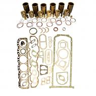 """Engine Base kit for 6.404D engine (Piston Pin 1.50"""" (38mm) ). Includes standard piston kits (RE23160), complete gasket set with front and rear crank seals, connecting rod bushings and a Thrust Washer set. To maximize kit you would add 6 conrod bearing pairs, 6 Main Bearing pairs, 1 Main Thrust bearing set, 12 Capscrews also called Conrod bolts and 4 Camshaft bushings. (Sold separately). If ordering rod or main bearings please indicate sizes required. Part Reference Numbers: RE23160;RG17897 Fits Models: 4040; 4230; 6600 COMBINE; 6600 INDUST/CONST; 6600 SPRAYER; 7700; 7700 COMBINE; 7700 FORAGE HARVESTER"""